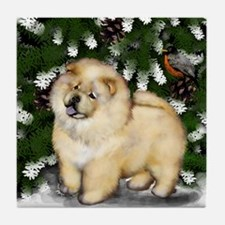 CHOW CHOW CREAM WINTER Tile Coaster