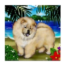 CHOW CHOW CREAM BEACH Tile Coaster