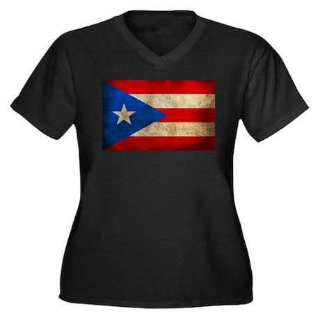Puerto Rico Women's Plus Size V-Neck Dark T-Shirt