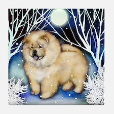 CHOW CHOW CREAM WINTER NIGHT Tile Coaster