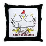 Cocky Contractor Throw Pillow