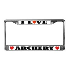 I Love Archery License Plate Frame
