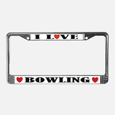 I Love Bowling License Plate Frame