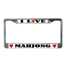 I Love Mahjong License Plate Frame