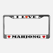 I Love Mahjong License Plate Frame