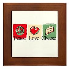 Peace, Love, Cheese Framed Tile