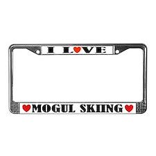 I Love Mogul Skiing License Plate Frame
