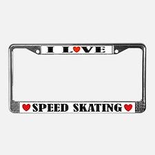 I Love Speed Skating License Plate Frame