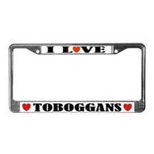 I Love Toboggans License Plate Frame
