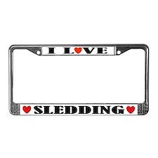 I Love Sledding License Plate Frame