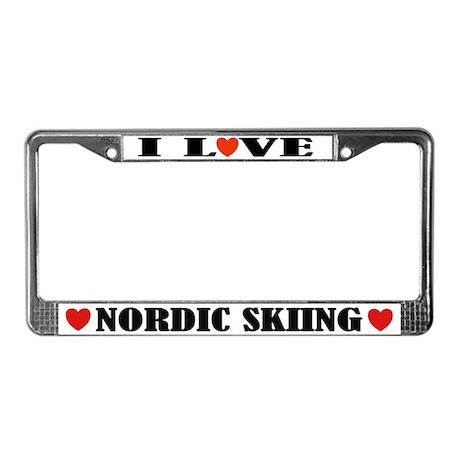 I Love Nordic Skiing License Plate Frame