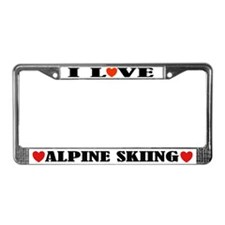 I Love Alpine Skiing License Plate Frame
