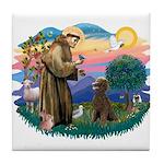St Francis #2 / Poodle (ST-Ch) Tile Coaster