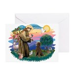 St Francis #2 / Poodle (ST-Ch) Greeting Cards (Pk