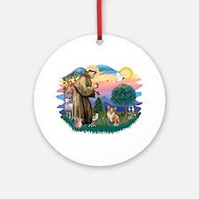 St. Francis #2 / Corgi (Pem) Ornament (Round)