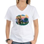 St Francis #2 / Yorkie (Brewer) Women's V-Neck T-S