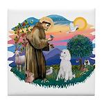 St Francis #2 / Poodle (STD W) Tile Coaster