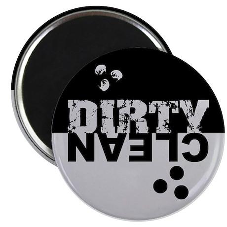 "Dirty/Clean Dishwasher black/silver 2.25"" Magnet ("