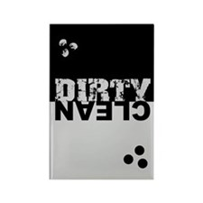 Dirty/Clean Dishwasher SQ bk/sil Rectangle Magnet