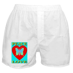 Peace & Love Butterfly Heart Boxer Shorts