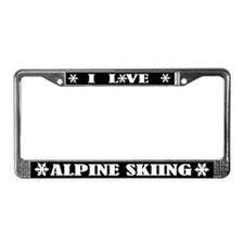 I Love Alpine Skiing Snow License Frame