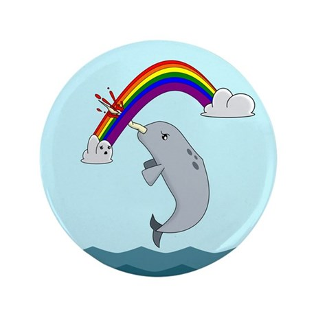 """Unimpressed Narwhal 3.5"""" Button"""