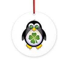 Green Irish Penguin Ornament (Round)