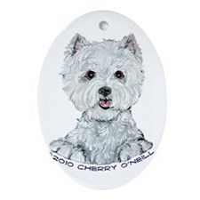 Lovable Westie Ornament (Oval)