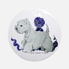 Blue Ribbon Westie Ornament (Round)