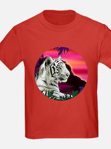White Tiger Tropical Kids T shirt