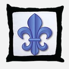 Blue Fleur de Lys Throw Pillow
