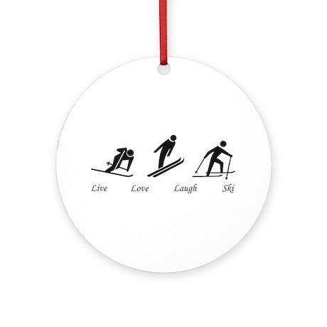 Live Love Laugh Ski Ornament (Round)
