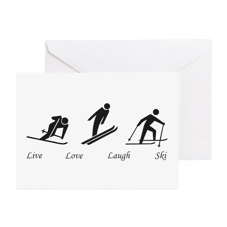 Live Love Laugh Ski Greeting Cards (Pk of 10)