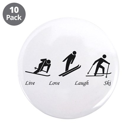"Live Love Laugh Ski 3.5"" Button (10 pack)"