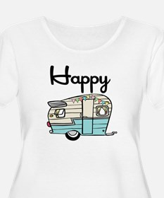Happy Camper Women's Plus Size Dark V-Neck T-Shirt