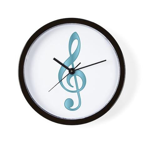 """""""Metallic"""" Aqua Treble Clef Wall Clock"""