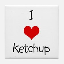 I Love Ketchup Tile Coaster
