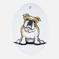 Cute English Bulldog Ornament (Oval)