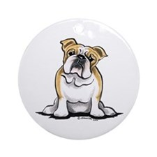 Cute English Bulldog Ornament (Round)