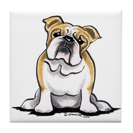 Cute English Bulldog Tile Coaster