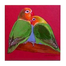 """Ceramic Tile Art or Coaster """"lovebirds"""""""
