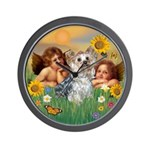 Angels with Yorkie Wall Clock