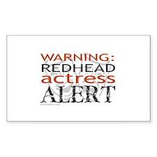 Warning: Redhead Actress Rectangle Decal