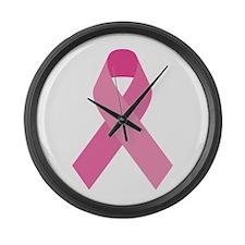 Single Pink Ribbon Large Wall Clock