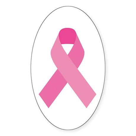 Single Pink Ribbon Sticker (Oval)
