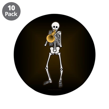 "Skeleton Trumpeter 3.5"" Button (10 pack)"
