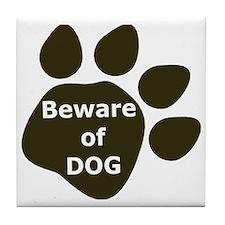 Beware of Dog paw Tile Coaster