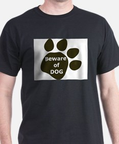 Beware of Dog paw Black T-Shirt