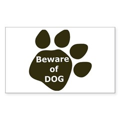 Beware of Dog paw Rectangle Decal
