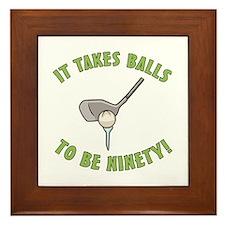 90th Birthday Golfing Gag Framed Tile